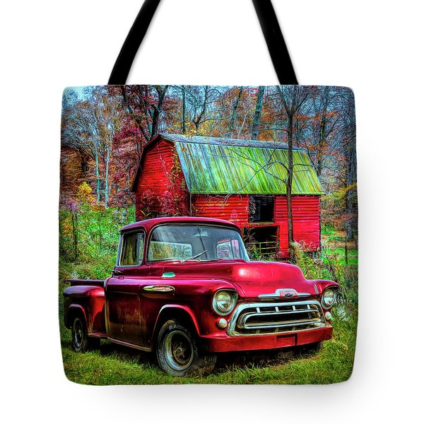 Love That Red 1957 Chevy Truck In Hdr Detail Tote Bag