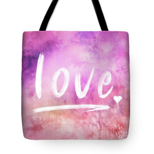 Love Watercolor In Pink Tote Bag