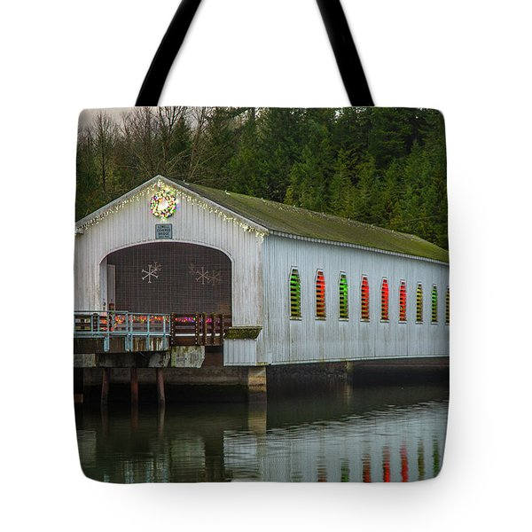 Tote Bag featuring the photograph Lowell Bridge In Christmas Dress by Matthew Irvin