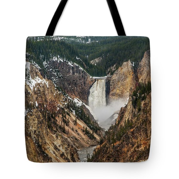 Tote Bag featuring the photograph Lower Yellowstone Falls by Matthew Irvin