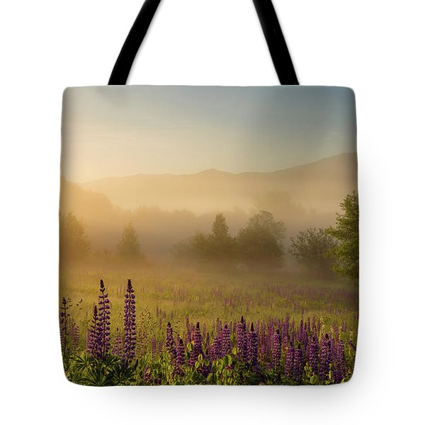 Lupine In The Fog, Sugar Hill, Nh Tote Bag