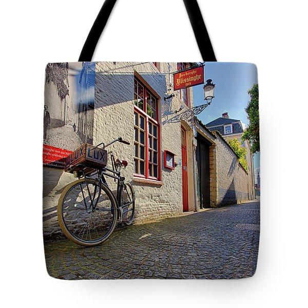 Lux Cobblestone Road Brugge Belgium Tote Bag