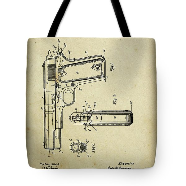 M1911 Browning Pistol Patent Tote Bag
