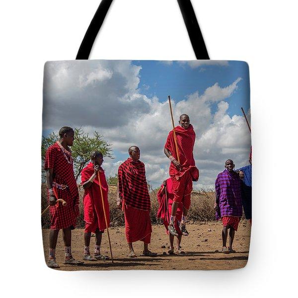 Tote Bag featuring the photograph Maasai Adumu by Thomas Kallmeyer