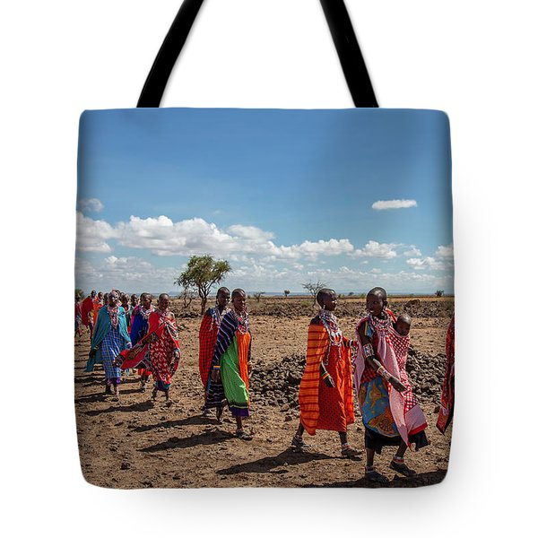 Tote Bag featuring the photograph Maasi Women by Thomas Kallmeyer