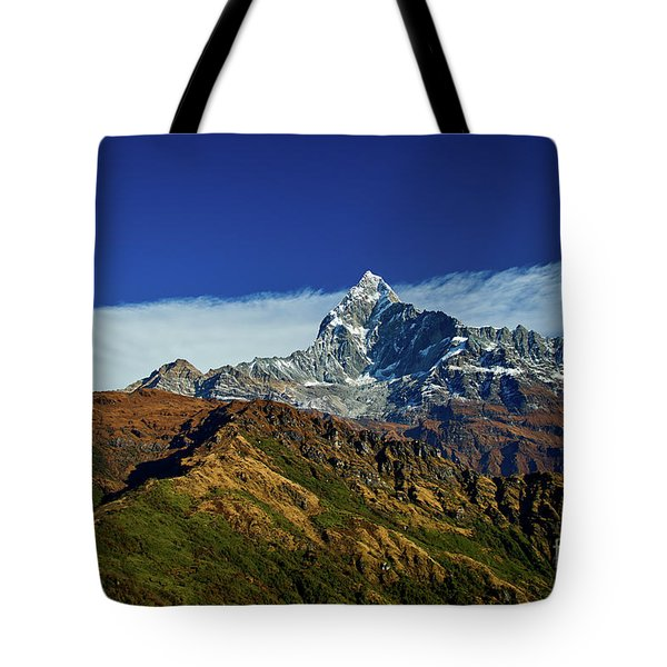 Machapuchare Mountain Fishtail In Himalayas Range Nepal Tote Bag