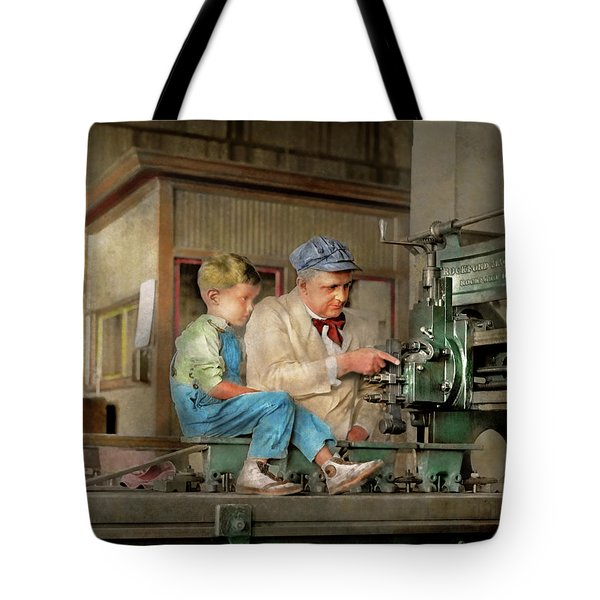Tote Bag featuring the photograph Machinist - Spending Time With Grandpa 1921 by Mike Savad