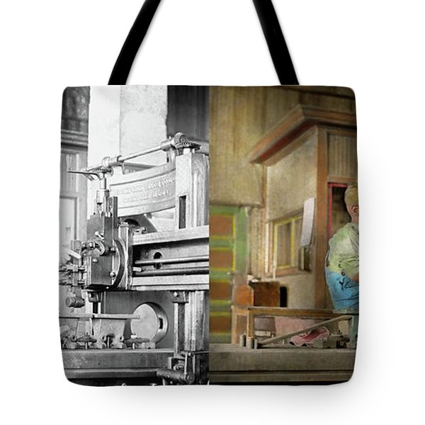 Tote Bag featuring the photograph Machinist - Spending Time With Grandpa 1921 - Side By Side by Mike Savad