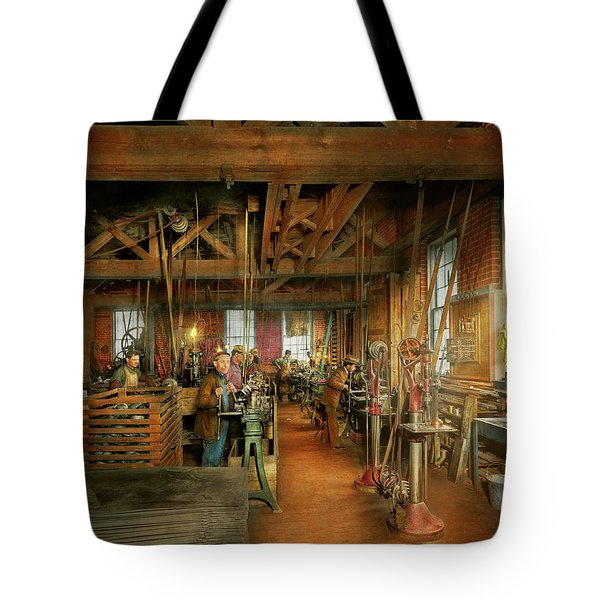 Tote Bag featuring the photograph Machinist - The Glazier Stove Company 1900 by Mike Savad