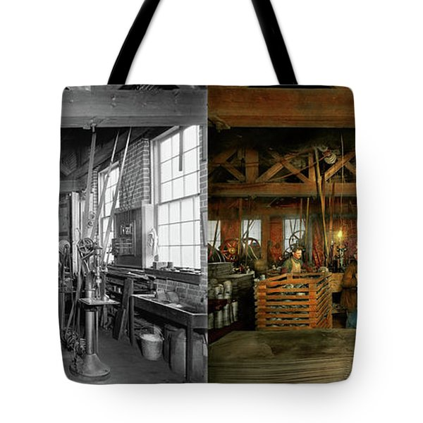 Tote Bag featuring the photograph Machinist - The Glazier Stove Company 1900 - Side By Side by Mike Savad