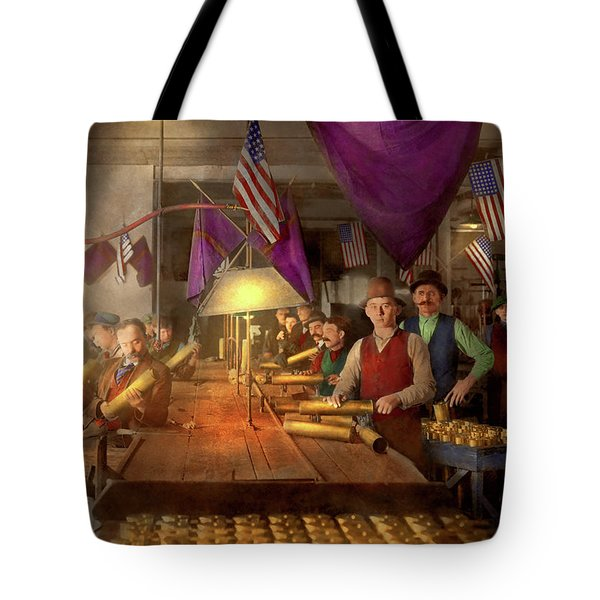 Tote Bag featuring the photograph Machinist - War - Meanwhile In The Bomb Factory 1912 by Mike Savad
