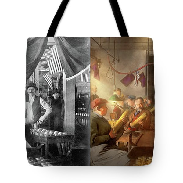 Tote Bag featuring the photograph Machinist - War - Meanwhile In The Bomb Factory 1912 - Side By Side by Mike Savad