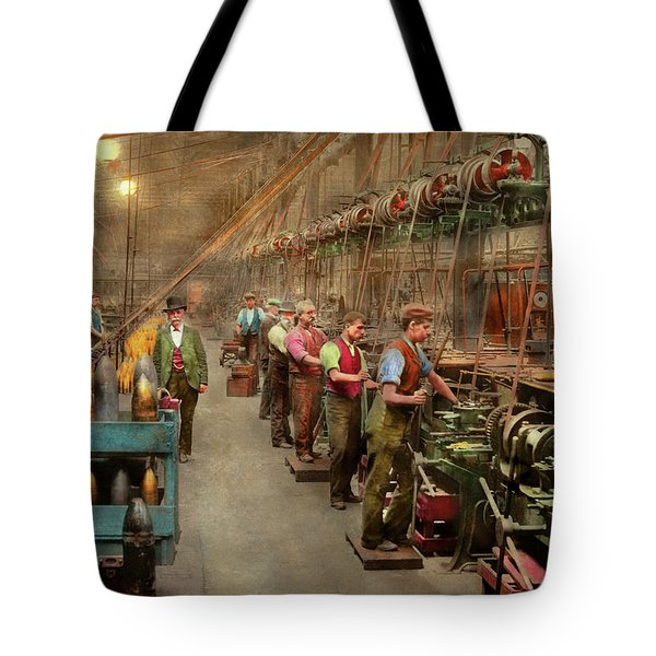 Tote Bag featuring the photograph Machinist - War - The Shell Dept 1900 by Mike Savad