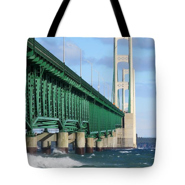 Mackinac Bridge And Waves Tote Bag