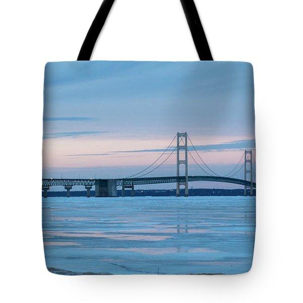 Mackinac Bridge In Ice 2161803 Tote Bag