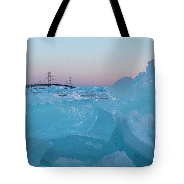 Mackinac Bridge In Ice 2161805 Tote Bag