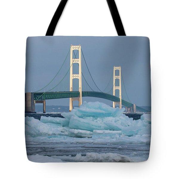 Mackinac Bridge In Ice 2161809 Tote Bag