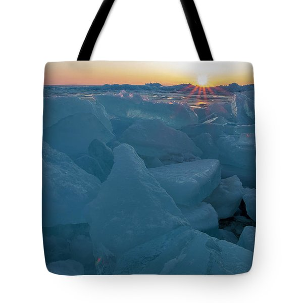 Tote Bag featuring the photograph Mackinaw City Ice Formations 21618014 by Rick Veldman