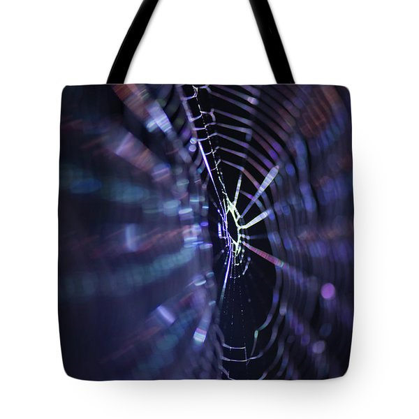 Macro Of A Spiders Web Captured At Night. Tote Bag