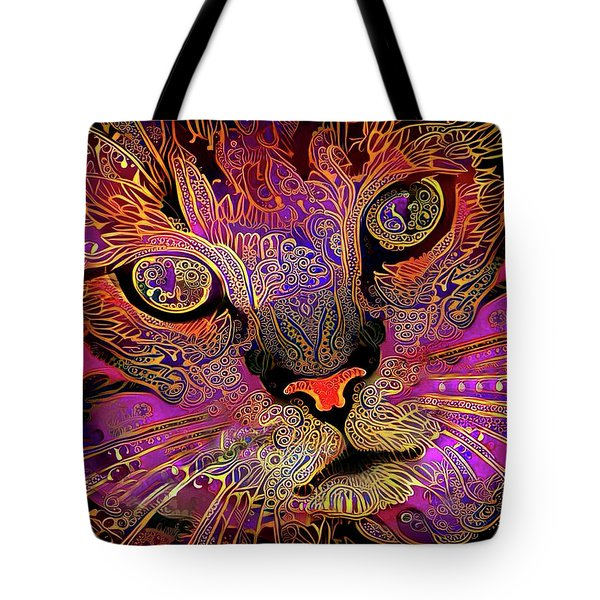 Tote Bag featuring the digital art Maggie May The Magenta Tabby Cat by Peggy Collins