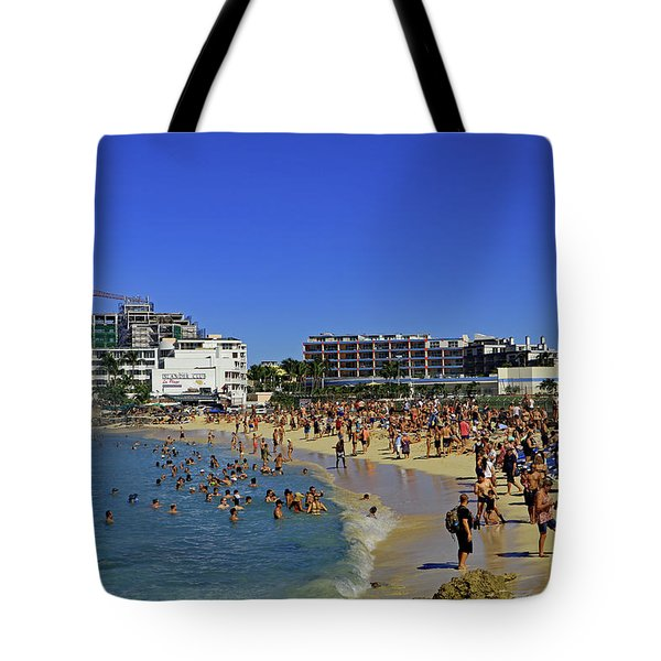 Tote Bag featuring the photograph Maho Beach by Tony Murtagh