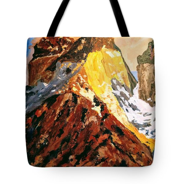 Tote Bag featuring the painting Majestic Mountain by Ray Khalife