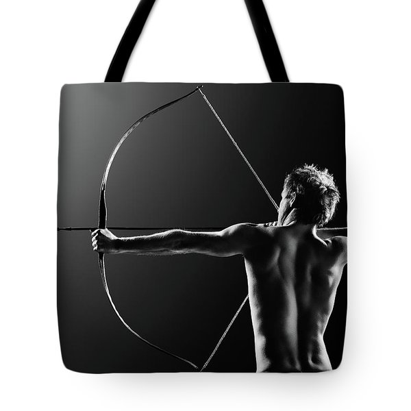 Male Archer Drawing Long Bow Tote Bag