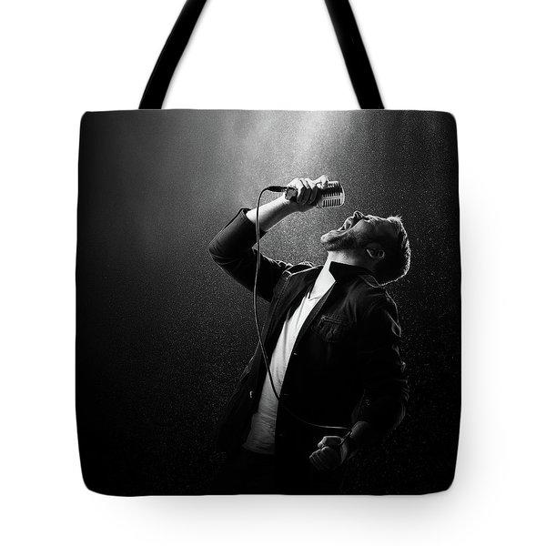 Male Singer Performing Tote Bag