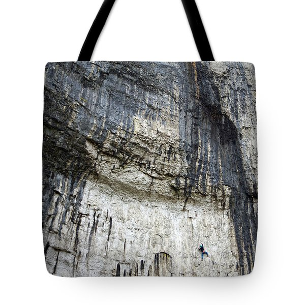 Tote Bag featuring the photograph Malham Cove Climbers by David Birchall