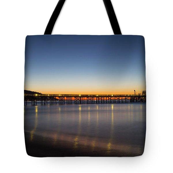 Malibu Pier At Sunrise Tote Bag