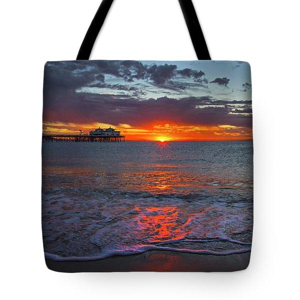 Malibu Pier Sunrise Tote Bag
