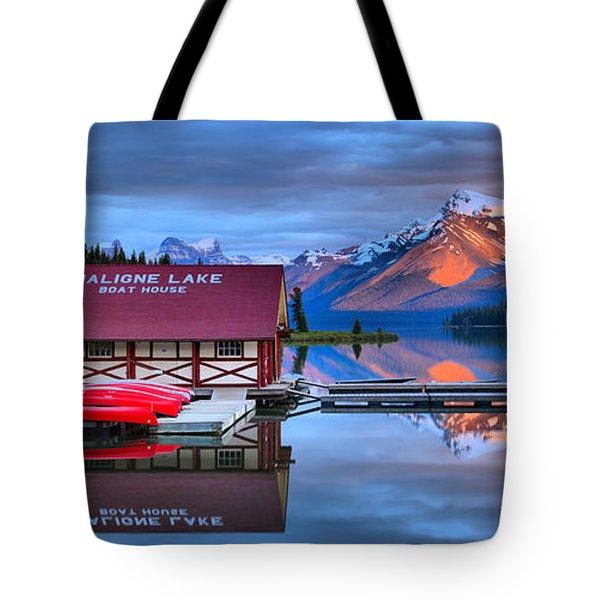 Maligne Lake Sunset Spectacular Tote Bag
