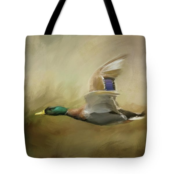Tote Bag featuring the painting Mallard In The Marsh by Jai Johnson