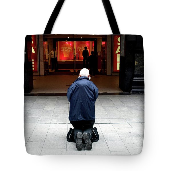 Man, Begging Tote Bag
