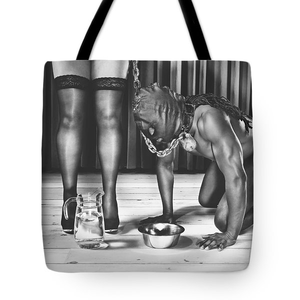 Man With Mask On His Knees Beside His Mistress Tote Bag