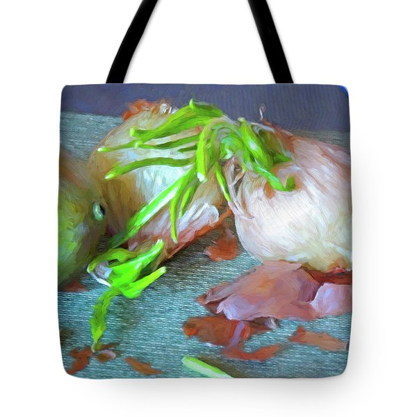 Tote Bag featuring the mixed media Mango And Two Onions by Lynda Lehmann