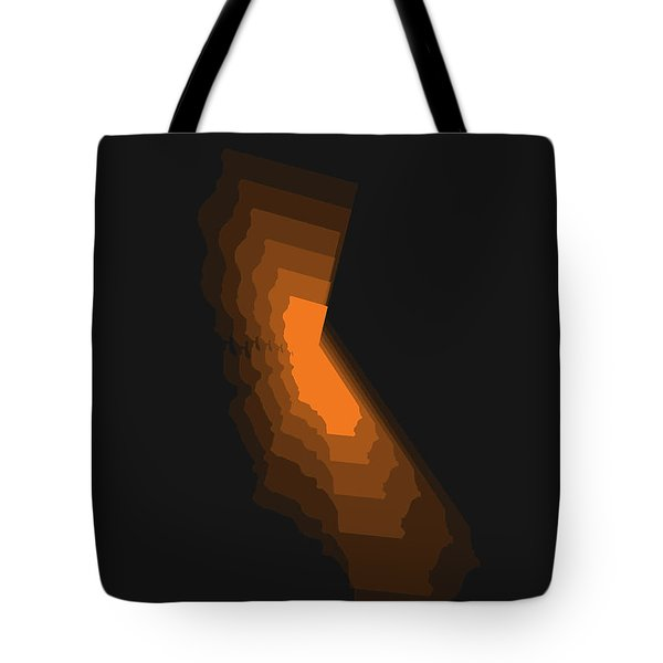 Map Of California Orange Tote Bag