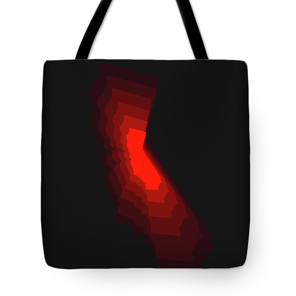 Map Of California Red Tote Bag