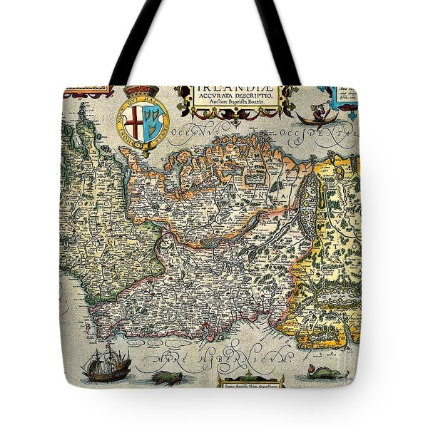Tote Bag featuring the painting Map Of Ireland By Boazio by Val Byrne