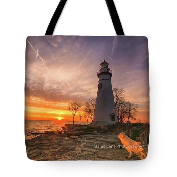 Marblehead Lighthouse Sunrise  Tote Bag