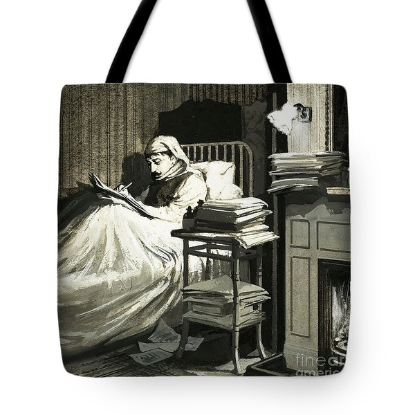 Marcel Proust Sat In Bed Writing Remembrance Of Things Past Tote Bag