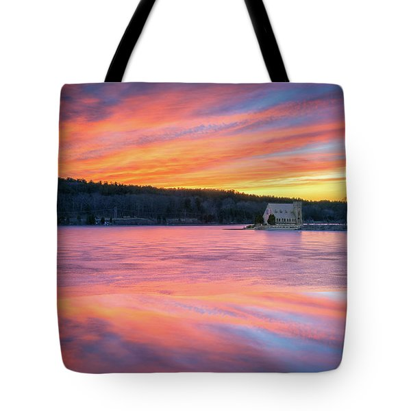 March Sunset At The Old Stone Church Tote Bag