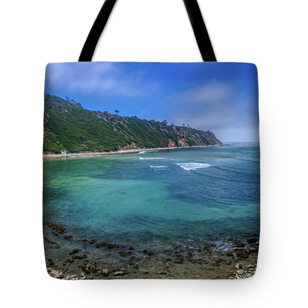Tote Bag featuring the photograph Marine Layer Over Bluff Cove Panorama by Andy Konieczny