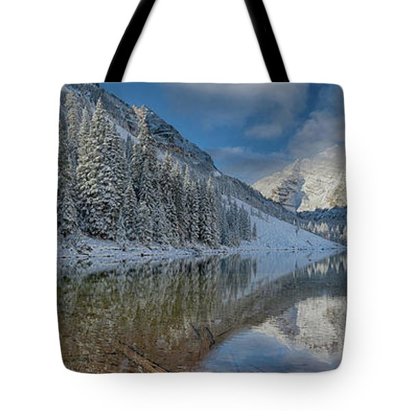 Tote Bag featuring the photograph Maroon Bells Reflection In The Maroon Lake With Fresh Snow Aspen Colorado Usa. by OLena Art Brand