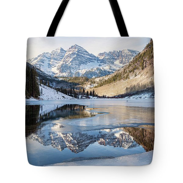 Maroon Bells Reflection Winter Tote Bag