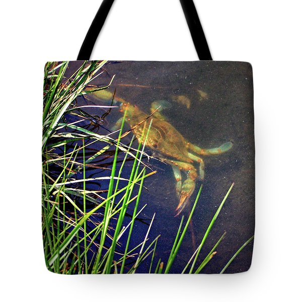 Tote Bag featuring the photograph Maryland Blue Crab Lurking In An Assateague Marsh by Bill Swartwout Fine Art Photography