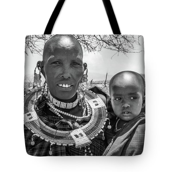 Masaai Mother And Child Tote Bag