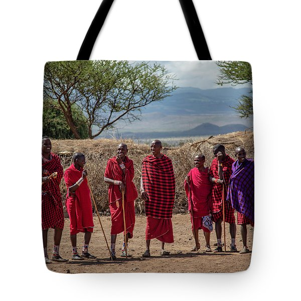 Tote Bag featuring the photograph Maasai Men by Thomas Kallmeyer