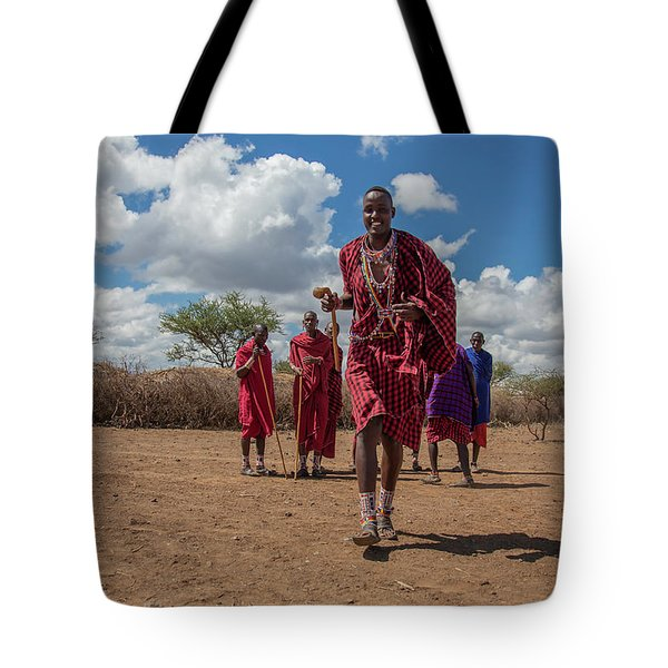 Tote Bag featuring the photograph Maasai Welcome by Thomas Kallmeyer