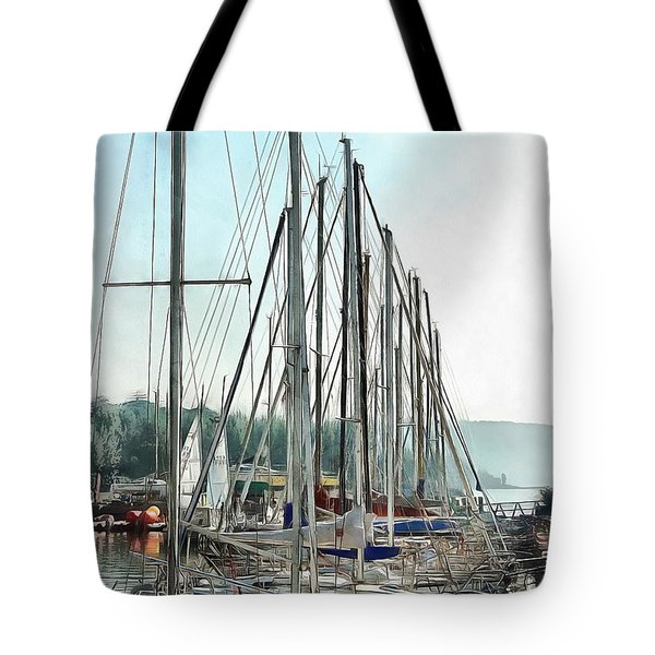 Tote Bag featuring the photograph Masts In A Row At Passignano by Dorothy Berry-Lound